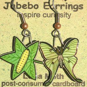 Luna Moth and Caterpillar Earrings 429