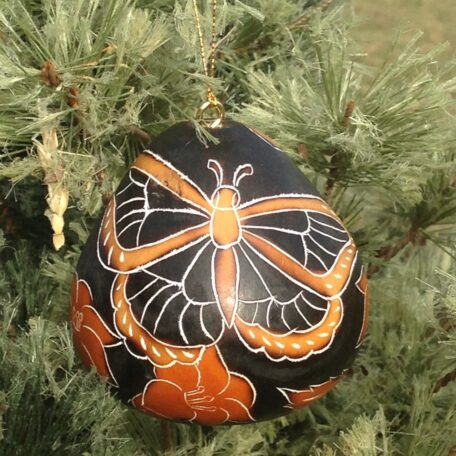 Monarch Butterflies Gourd Ornament - Dark CRG105N Dark