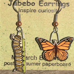 Monarch Butterfly and Caterpillar Earrings 425