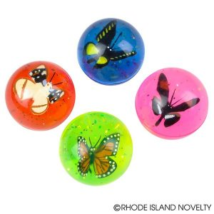 Rubber Bouncy Ball with Butterfly & Glitter