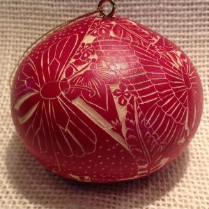 Tropical Butterflies Red Gourd Ornament CRG503C-R