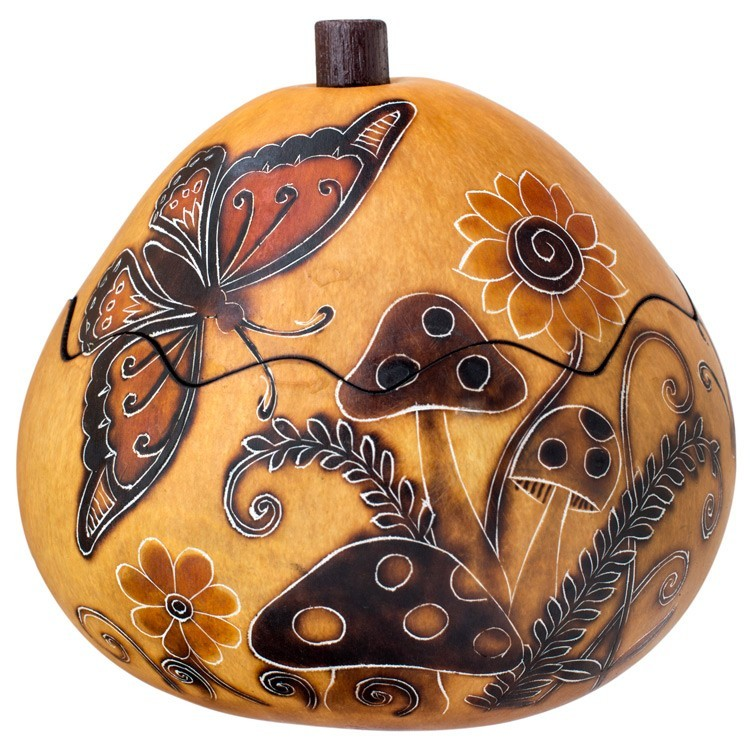 Whimsy Butterflies Small Carved Gourd Box Michigan