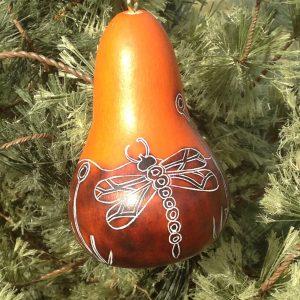 Whimsy Dragonfly gourd ornament - Dark